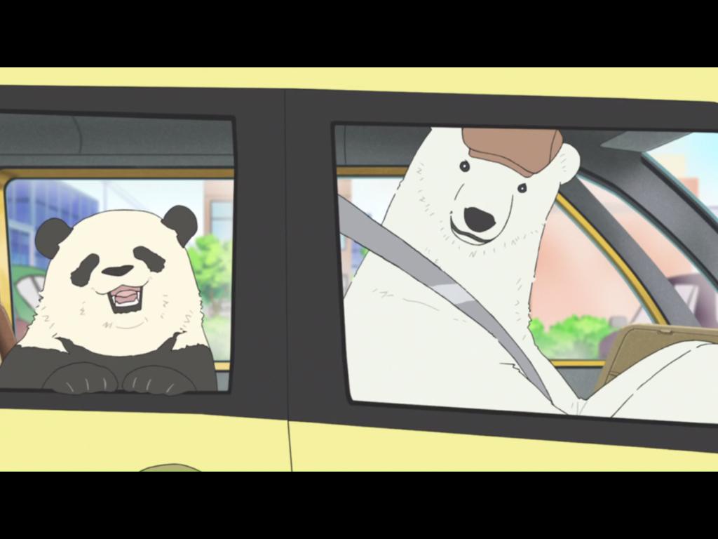 """Auch Eisbären mögen Fastfood: Shirokuma und Panda bestellen sich einen Snack am """"Drive-in"""""""
